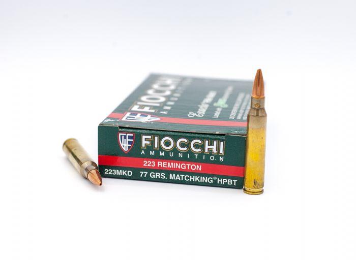 Fiocchi Exacta Rifle Match 223 Rem Sierra MatchKing HPBT-Hollow Point Boat  Tail 77 Grain 20 Rounds