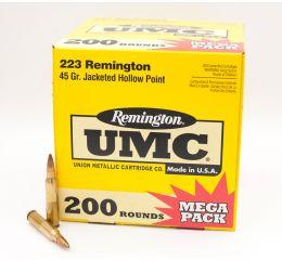 Remington UMC Mega Pack 223 Remington JHP-Jacketed Hollow Point 45 Grain 200 Rounds