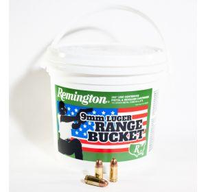 Remington 9mm Luger ammo UMC 115 grain MC 350 bullets range bucket