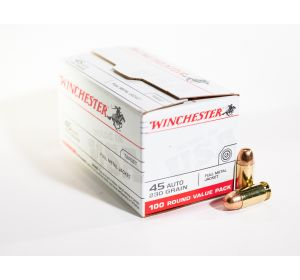 Winchester 45 Auto ammo Target 230 grain FMJ 100 round value pack