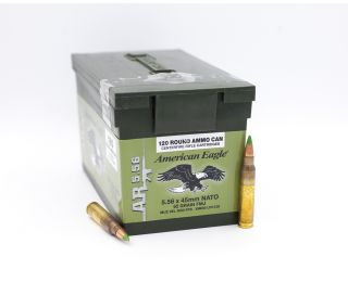 Federal American Eagle 5.56x45mm NATO FMJ-Full Metal Jacket 62 Grain 120 Round Ammo Can