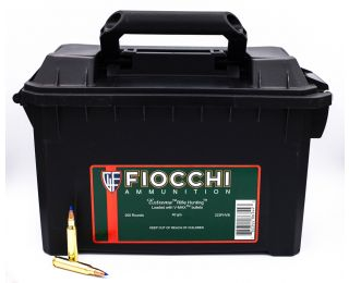 Fiocchi Extrema Rifle Hunting 223 Remington Hornady V-Max-Polymer Tip Boat Tail 40 Grain 200 Rounds Ammo Can