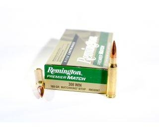308 WIN ammo Remington Premier Match 168 grain Matchking BTHP
