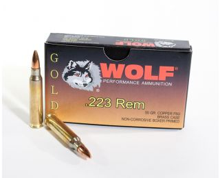 .223 ammo Wolf Gold 55 grain FMJ bullets
