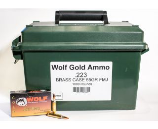Wolf .223 Rem Gold Brass Case 55 grain FMJ 1000 rounds bulk ammo can