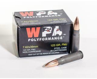 7.62 x 39mm ammo Wolf WPA Polyformance 123 grain FMJ